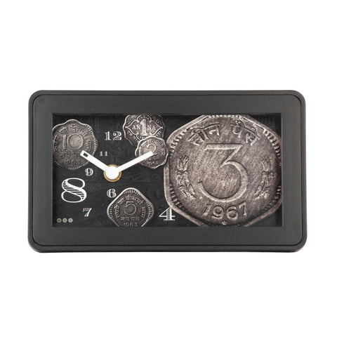 Old Coin Table Clock