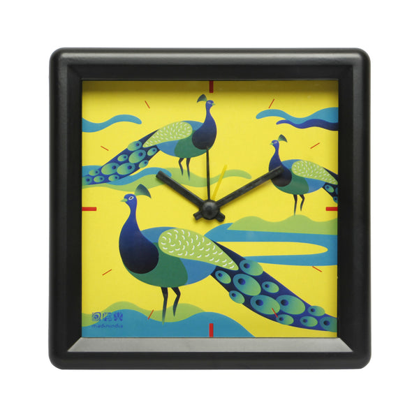 Peacock Table Clock Square