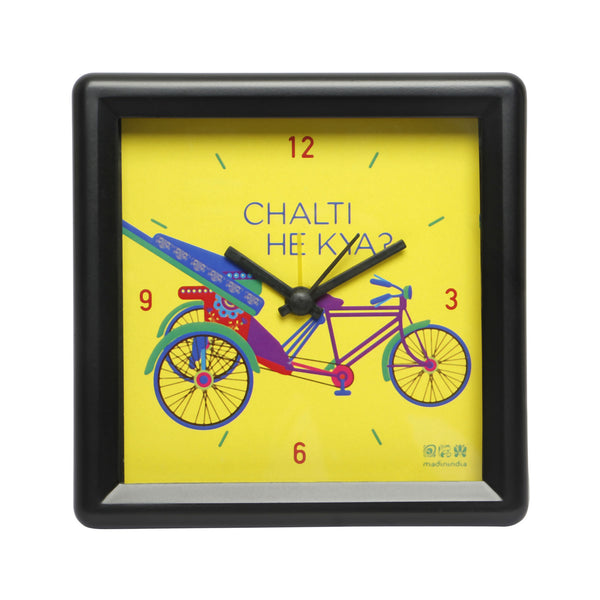 Delhi Cycle Table Clock Square