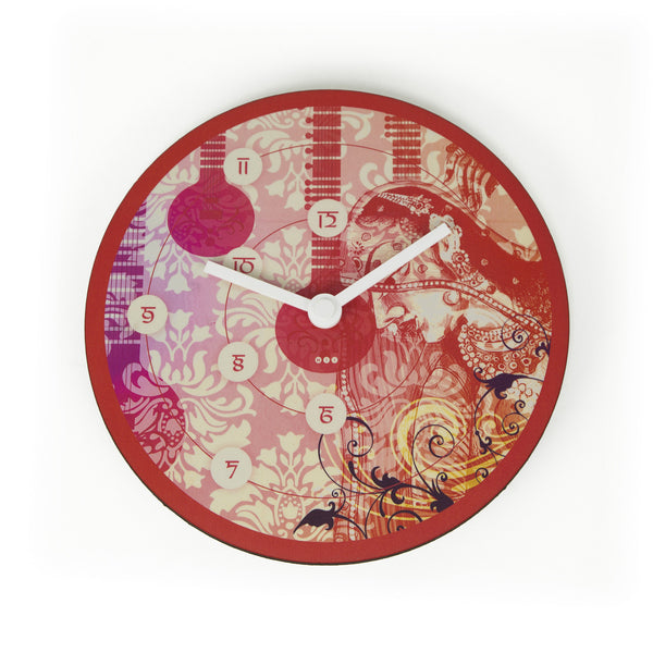 Lady With Sitar- Round Wall Clock