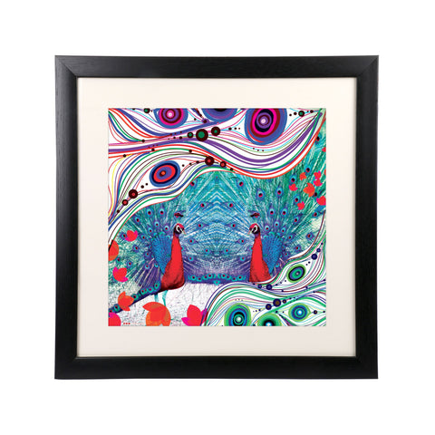 "Peacock Pair Wall Frame - 18"" x 18"""