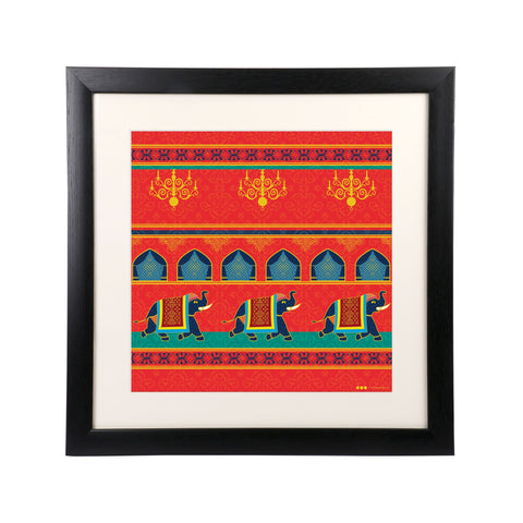 "Elephant procession Wall Frame - 18"" x 18"""