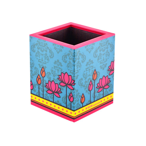 Geometric Lotus Blue Pen Stand