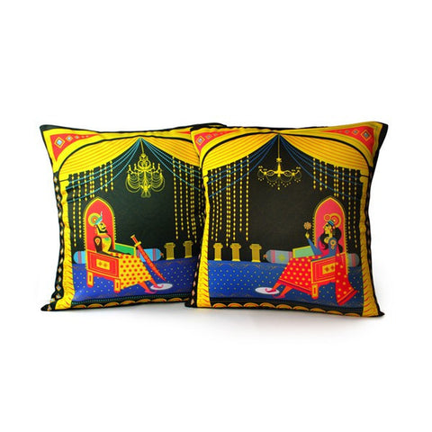 Maharaja-Maharani Cushion Covers - Set of 2