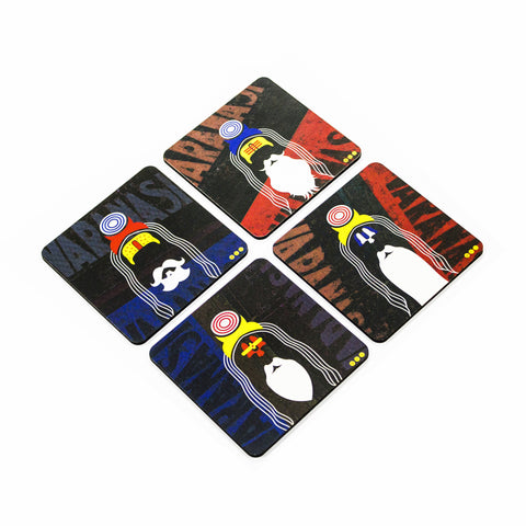 Sadhu Coaster Set with Stand - Set of 4