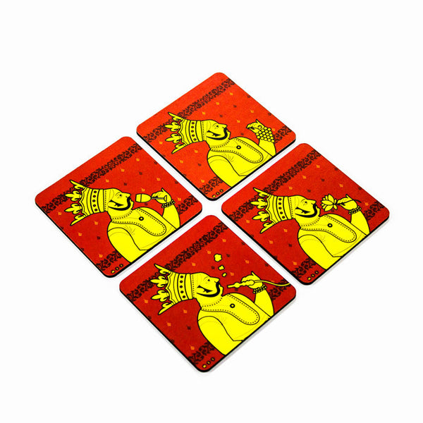 Maharaja Coaster Set with Stand - Set of 4