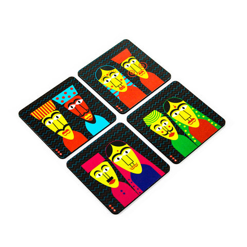 Puppet Coaster Set with Stand - Set of 4