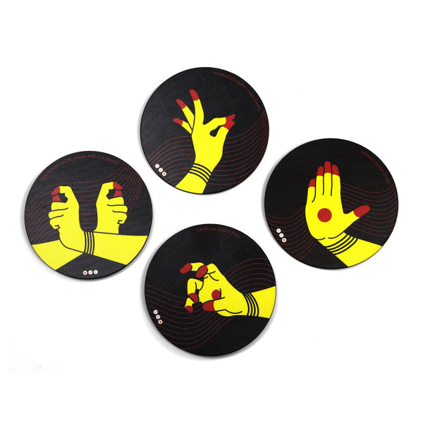 Hastamudra Coaster Set with Stand - Set of 4