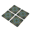 Peacock Coaster Set - Set of 4 with Stand