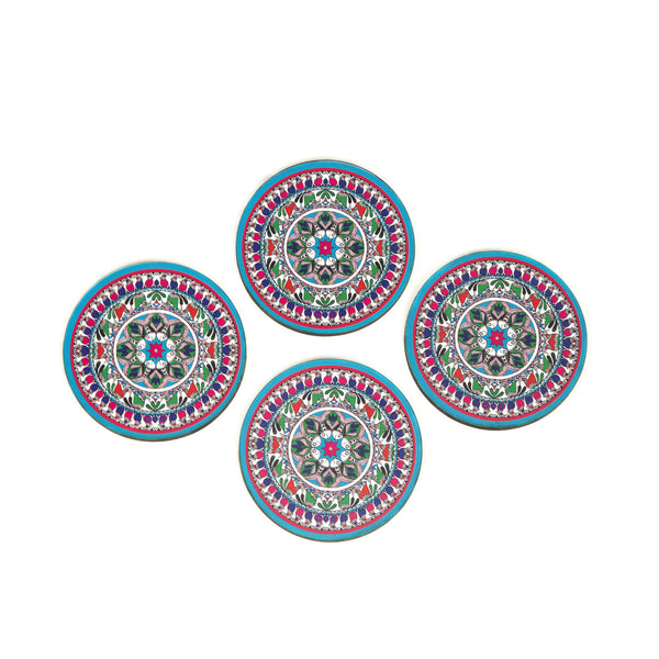 Madhubani Art Coaster Set with Stand - Set of 4