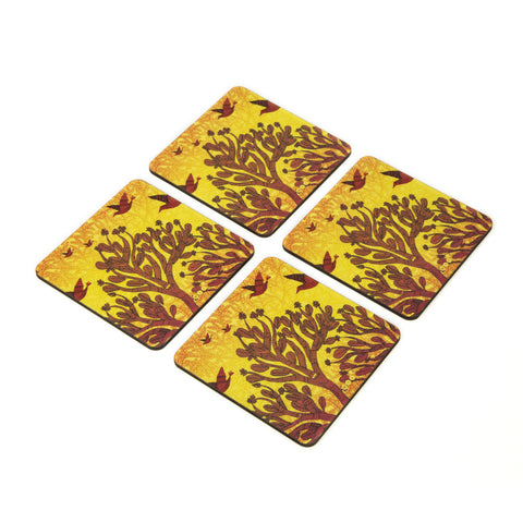 Gond design Coaster - Set of 4  with Stand