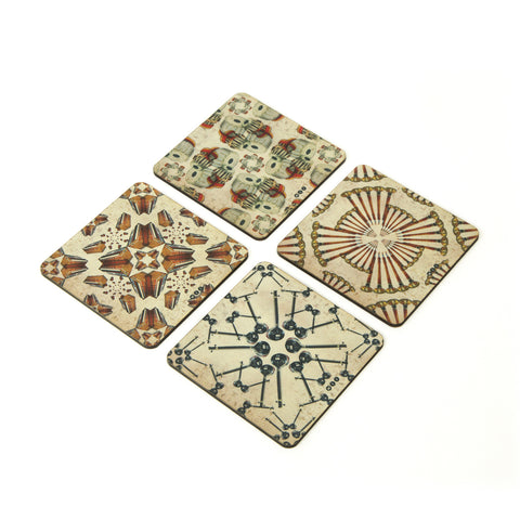 Music Instruments Coaster - Set of 4 with Stand