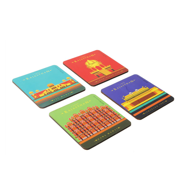 I Love Rajasthan Coaster Set - Set of 4 with Stand
