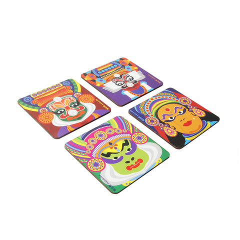 Kathakali Dancers Mask Coaster Set - Set of 4 with Stand