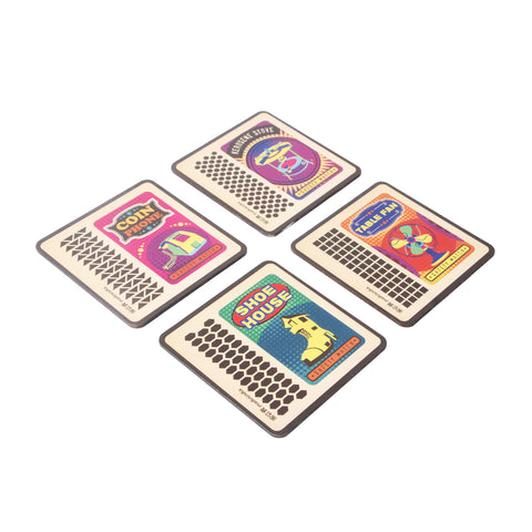 Matchbox Coaster Set - Set of 4 with Stand