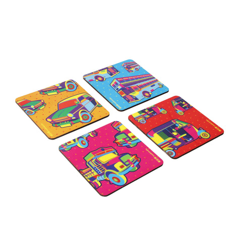 Mumbai Transport Coaster Set - Set of 4 with Stand