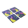 Peacock Pair Coaster Set - Set of 4 with Stand