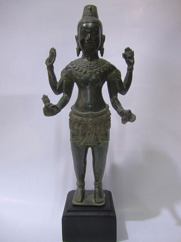 Khmer Style Vishnu Antique Color Bronze 39cm - Cambodia Arts and Crafts