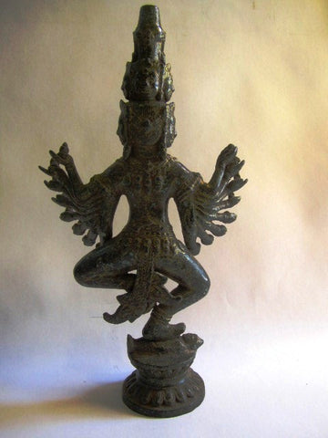 Bronze Khmer Style Standing Vishnu with Multiple Arms 43cm - Cambodia Arts and Crafts