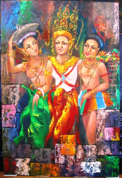Singed Original Apsara Dancing Girl 80x120cm - Cambodia Arts and Crafts
