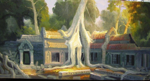 Taphrom Temple, Oil Painting of Taphrom Temple 40x80cm - Cambodia Arts and Crafts