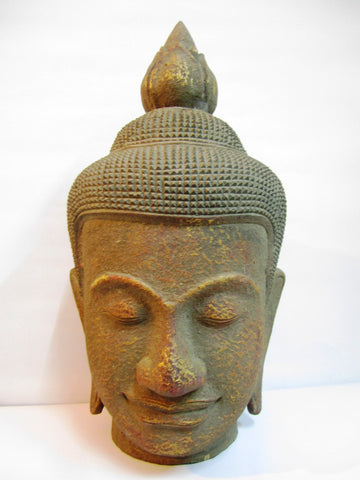 Antique Color of Teak Buddha Head 50cm - Cambodia Arts and Crafts