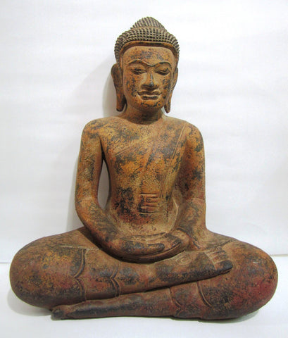 Old Teak Buddha in Meditation H50cm - Cambodia Arts and Crafts