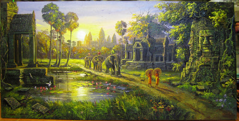 Sunrise at Angkor Wat, Angkor Wat Oil Painting by Cheay 70x140cm - Cambodia Arts and Crafts