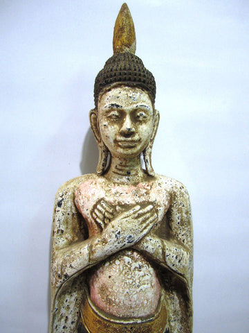 Beautiful Antique Color, Old Wood, Standing Buddha 65cm - Cambodia Arts and Crafts