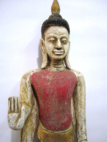 Standing Buddha in Antique Color Old Teak 60cm - Cambodia Arts and Crafts