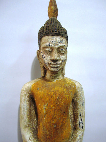 Old Teak, Standing Buddha Antique Color 66cm - Cambodia Arts and Crafts