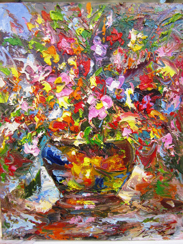Flower Oil Painting 40x50cm - Cambodia Arts and Crafts