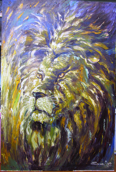 Lion Oil Painting by Sothea 80x120cm - Cambodia Arts and Crafts