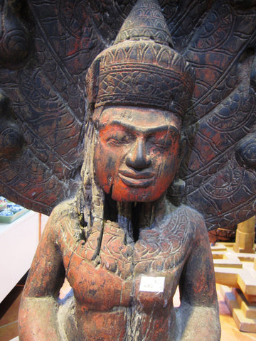 Old Wooden Buddha with Cobra, Saturday Buddha Sculpture H100cm - Cambodia Arts and Crafts
