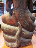 Old Wooden Buddha with Cobra, Saturday Buddha Sculpture H100cm