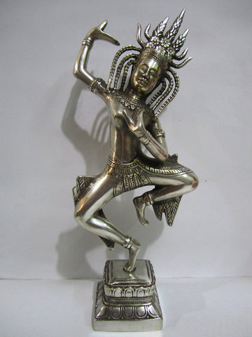 Apsara, Silver Coated Apsara H24cm - Cambodia Arts and Crafts