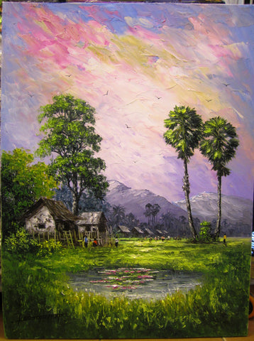 Original Oil Painting of Countryside by Pheap 60x80cm - Cambodia Arts and Crafts
