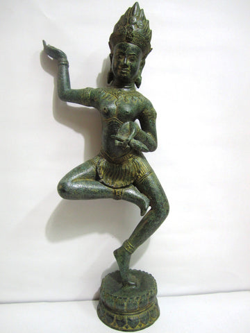 Antique Color of Apsara Holding Lotus 55cm - Cambodia Arts and Crafts