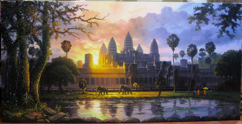 Angkorwat, Angkorwat Sunrise Oil Painting by Arn 100x200cm - Cambodia Arts and Crafts