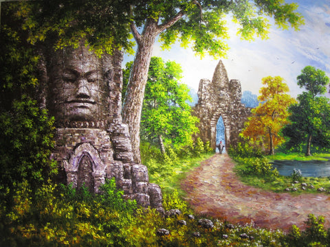 Unique Original Oil Painting, Angkorwat by Keo 100x200cm - Cambodia Arts and Crafts