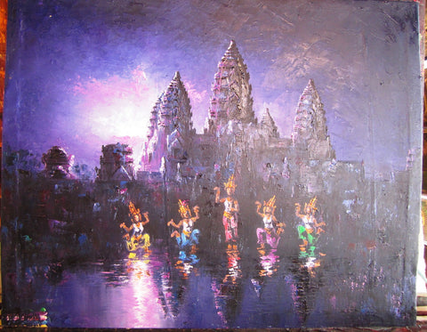 Original Angkorwat with Apsara Dancing 40x50cm - Cambodia Arts and Crafts