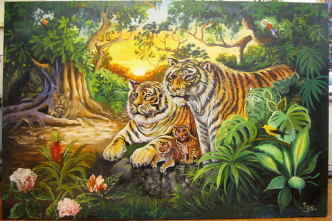 Tiger, Tiger Oil Painting 80x120cm - Cambodia Arts and Crafts