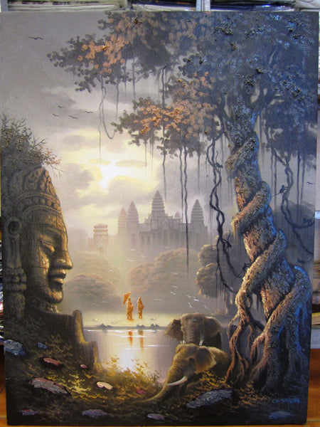 Angkorwat, Angkorwat Oil Painting 60x80cm - Cambodia Arts and Crafts