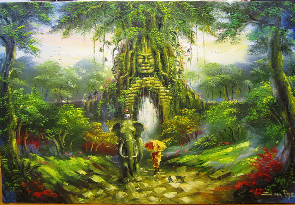 Temple Gate, Gate of Temple in Oil Painting 80x120cm - Cambodia Arts and Crafts