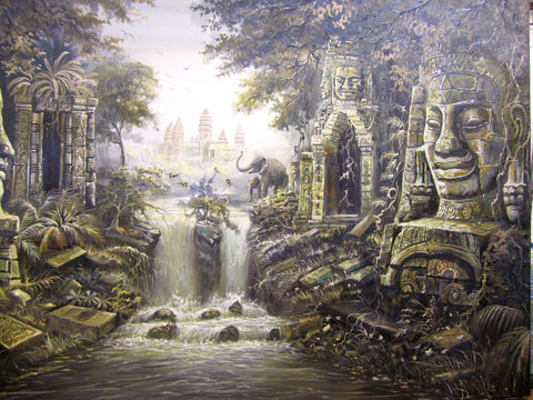 Made Up Angkorwat with Waterfall, Angkorwat with Waterfall 1x2m - Cambodia Arts and Crafts