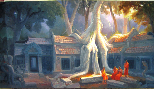 Taphrom Temple, Taphrom Oil Painting 70x140cm - Cambodia Arts and Crafts