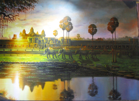 Sunrise Angkorwat, Reproduction Angkorwat Sunrise 1 x2m - Cambodia Arts and Crafts