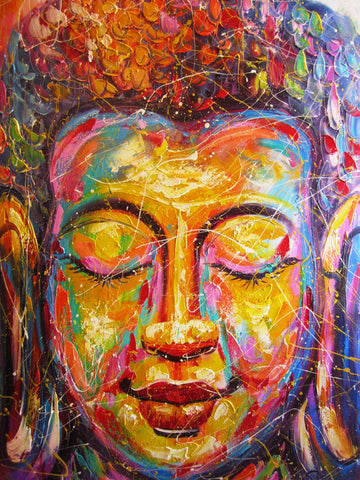 Buddha Face, Face of Buddha Oil Painting 80x120cm - Cambodia Arts and Crafts