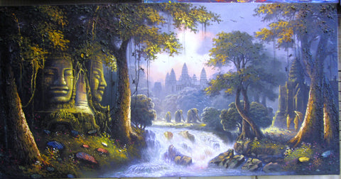 Angkor Wat, Angkor Wat Temple in Oil Painting on Canvas 70cm x 140cm - Cambodia Arts and Crafts