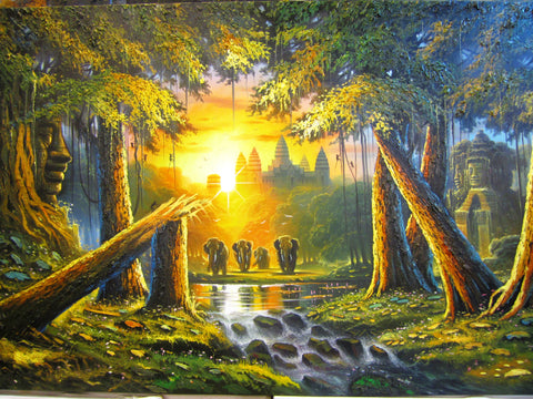 Angkor Wat, Angkor Wat Oil Painting, Angkor Wat Painting 1mx2m - Cambodia Arts and Crafts